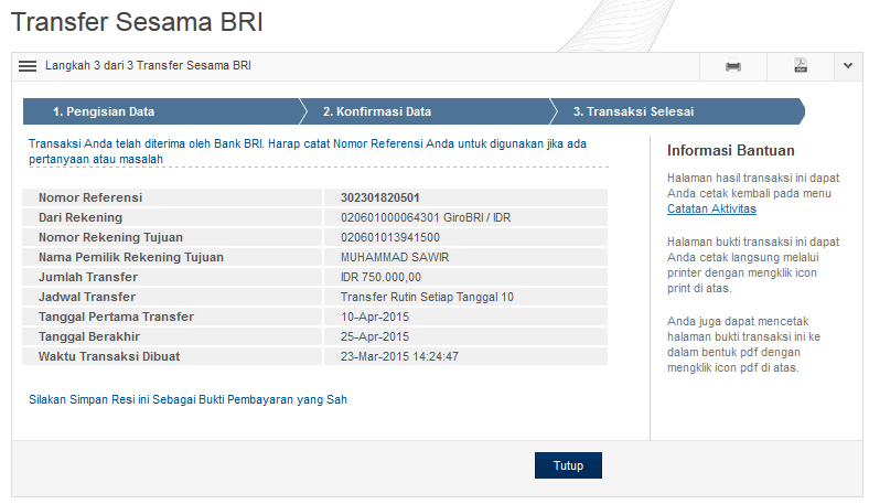 Welcome to BRI Internet Banking